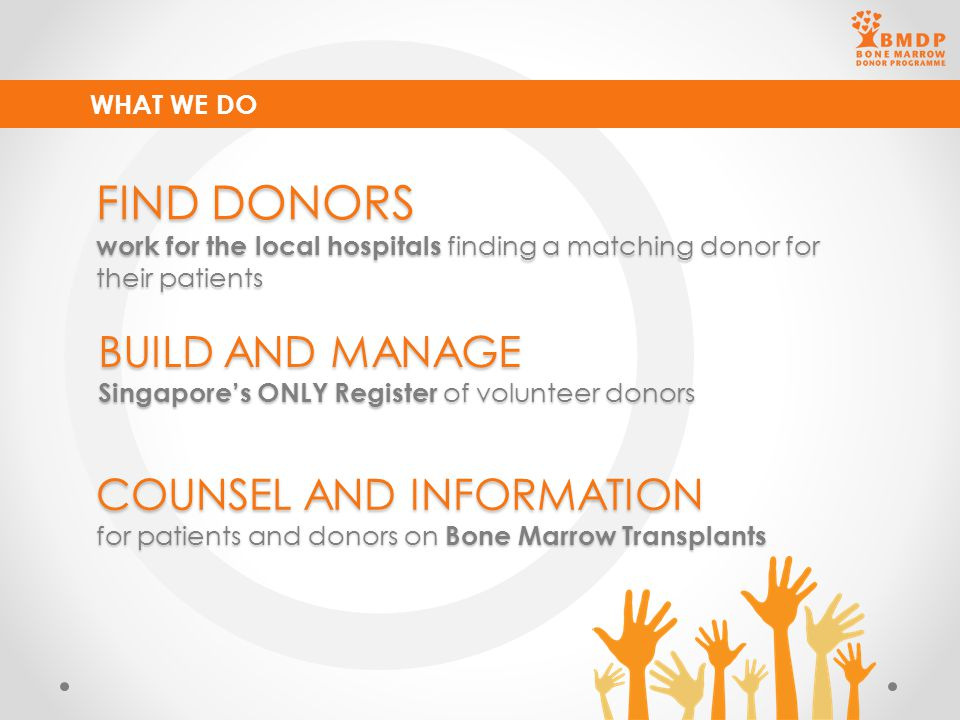 BUILD AND MANAGE Singapore's ONLY Register of volunteer donors WHAT WE DO FIND DONORS work for the local hospitals finding a matching donor for their
