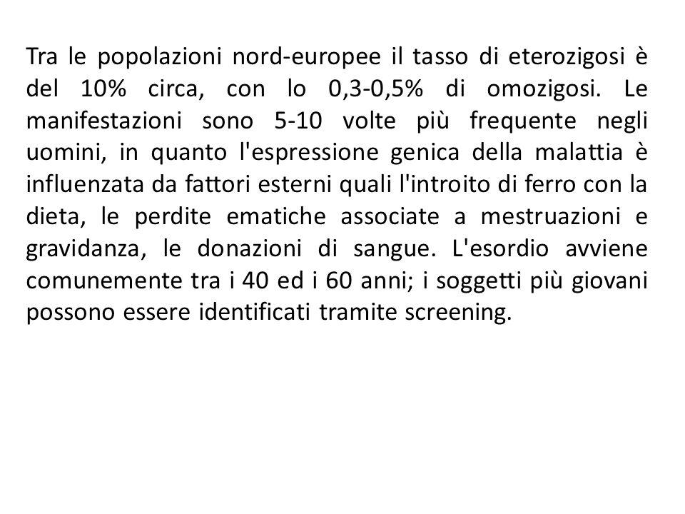 Tra le popolazioni nord-europee il tasso di eterozigosi è del 10% circa, con lo 0,3-0,5% di omozigosi.