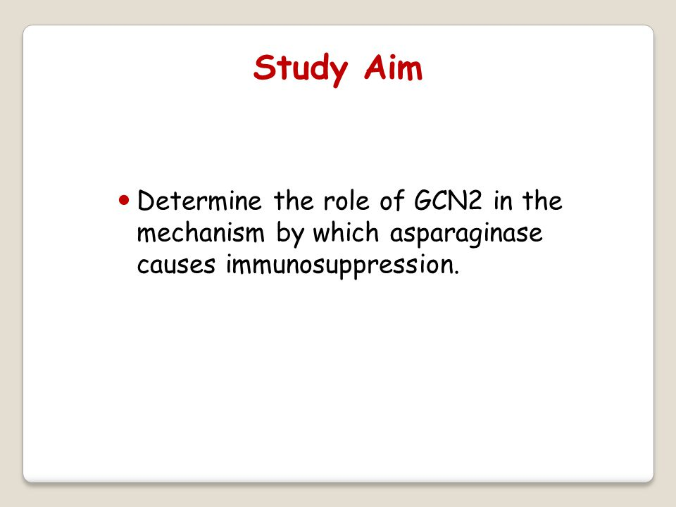 Determine the role of GCN2 in the mechanism by which asparaginase causes immunosuppression.