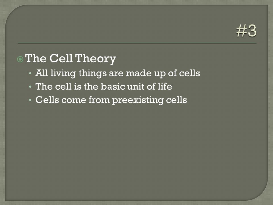  The Cell Theory All living things are made up of cells The cell is the basic unit of life Cells come from preexisting cells