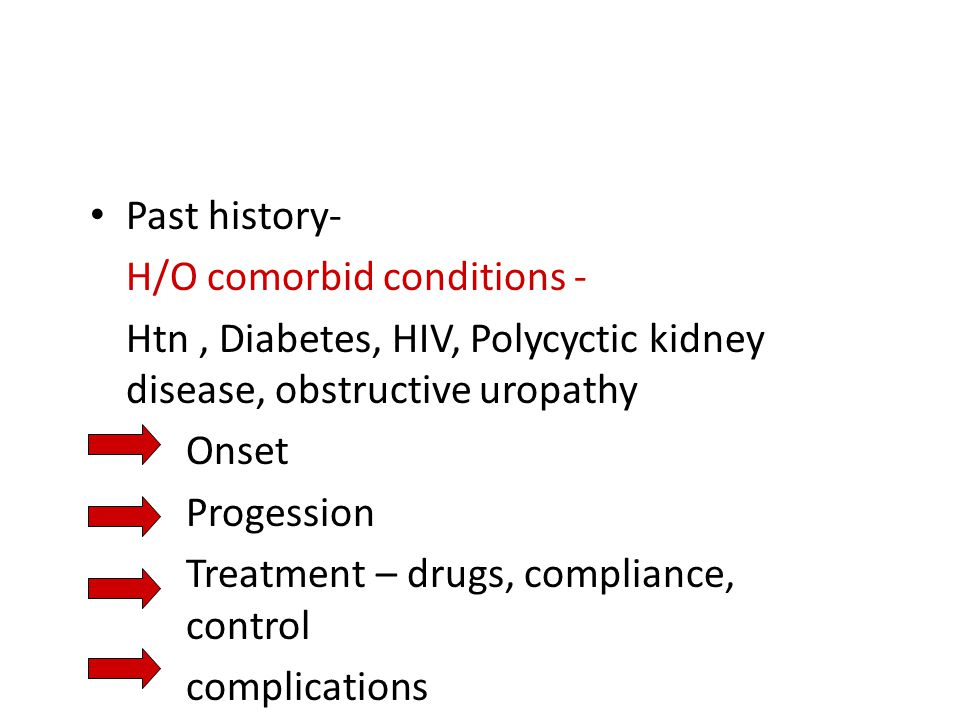 Past history- H/O comorbid conditions - Htn, Diabetes, HIV, Polycyctic kidney disease, obstructive uropathy Onset Progession Treatment – drugs, compli