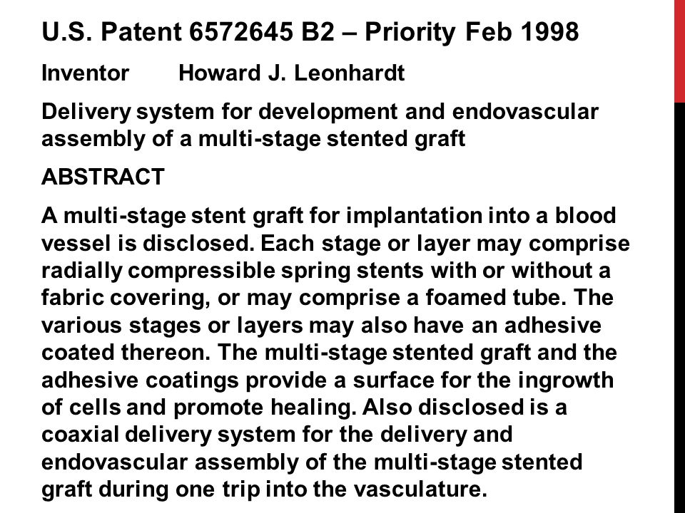 U.S. Patent 6572645 B2 – Priority Feb 1998 InventorHoward J.