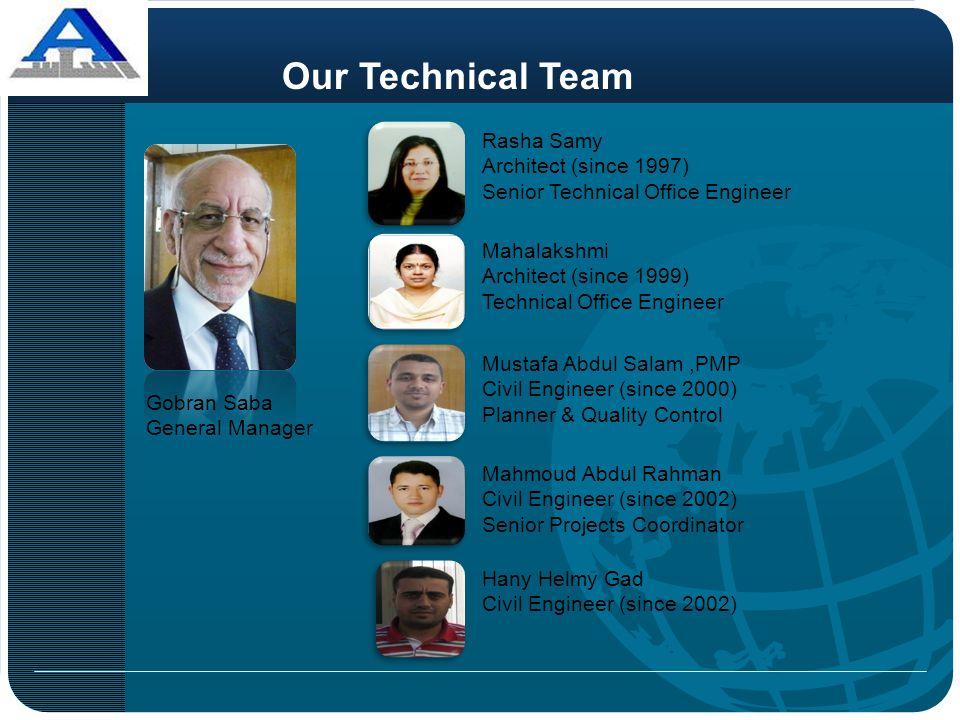 Gobran Saba General Manager Hany Helmy Gad Civil Engineer (since 2002) Mustafa Abdul Salam,PMP Civil Engineer (since 2000) Planner & Quality Control O