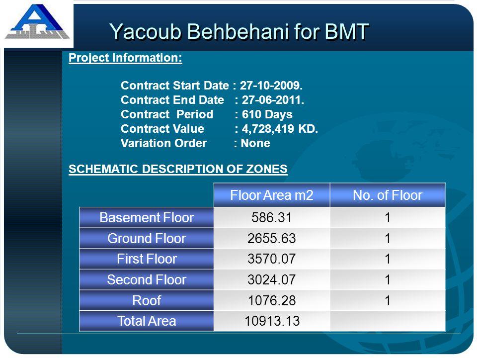 Yacoub Behbehani for BMT Project Information: SCHEMATIC DESCRIPTION OF ZONES Floor Area m2No. of Floor Basement Floor586.311 Ground Floor2655.631 Firs