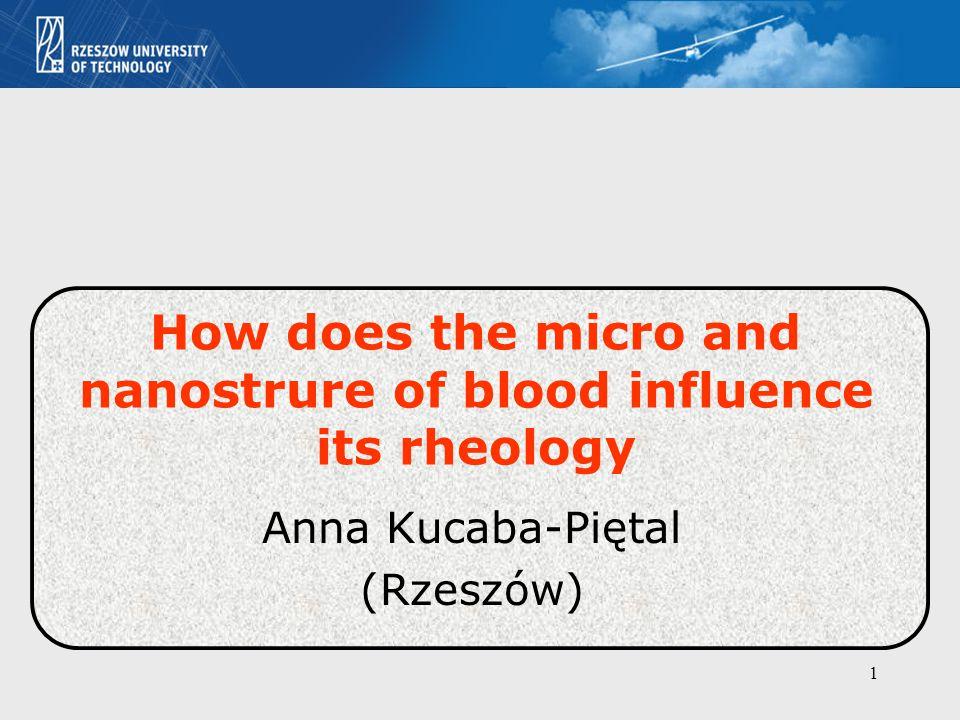 1 How does the micro and nanostrure of blood influence its rheology Anna Kucaba-Piętal (Rzeszów)