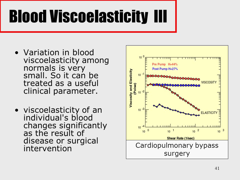41 Variation in blood viscoelasticity among normals is very small. So it can be treated as a useful clinical parameter. viscoelasticity of an individu