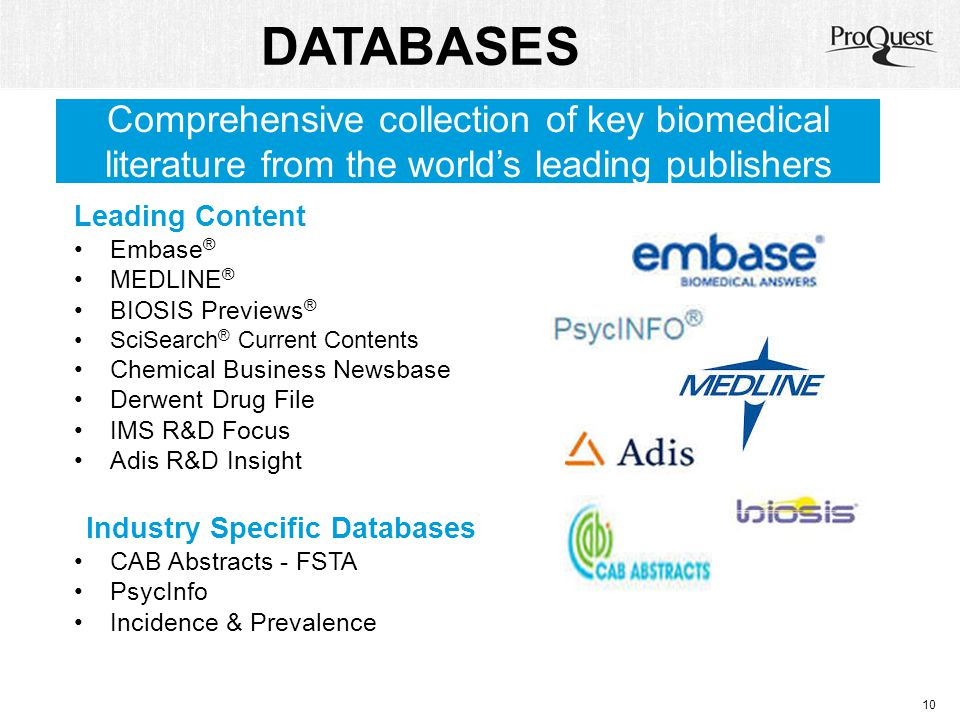 DATABASES Leading Content Embase ® MEDLINE ® BIOSIS Previews ® SciSearch ® Current Contents Chemical Business Newsbase Derwent Drug File IMS R&D Focus
