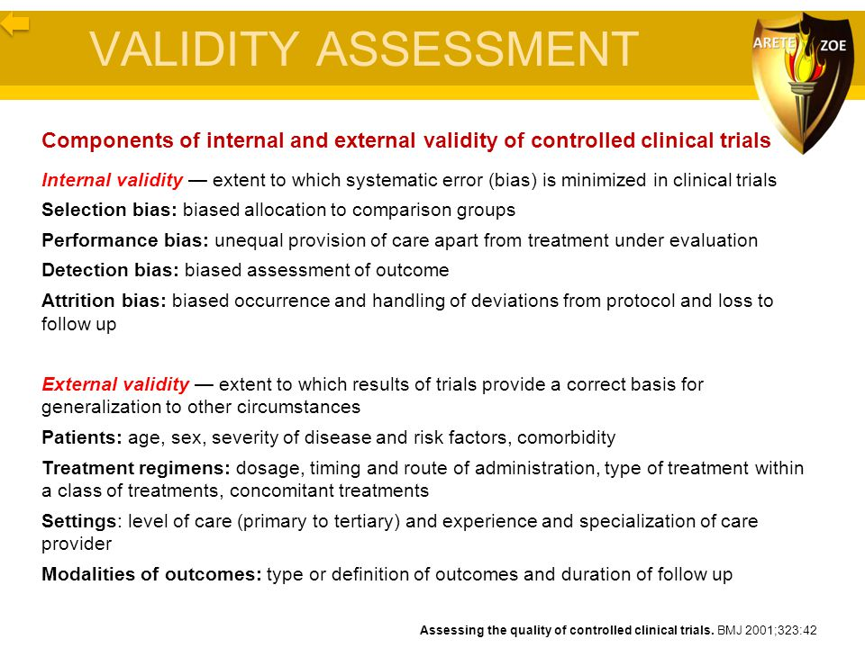 VALIDITY ASSESSMENT Components of internal and external validity of controlled clinical trials Internal validity — extent to which systematic error (b