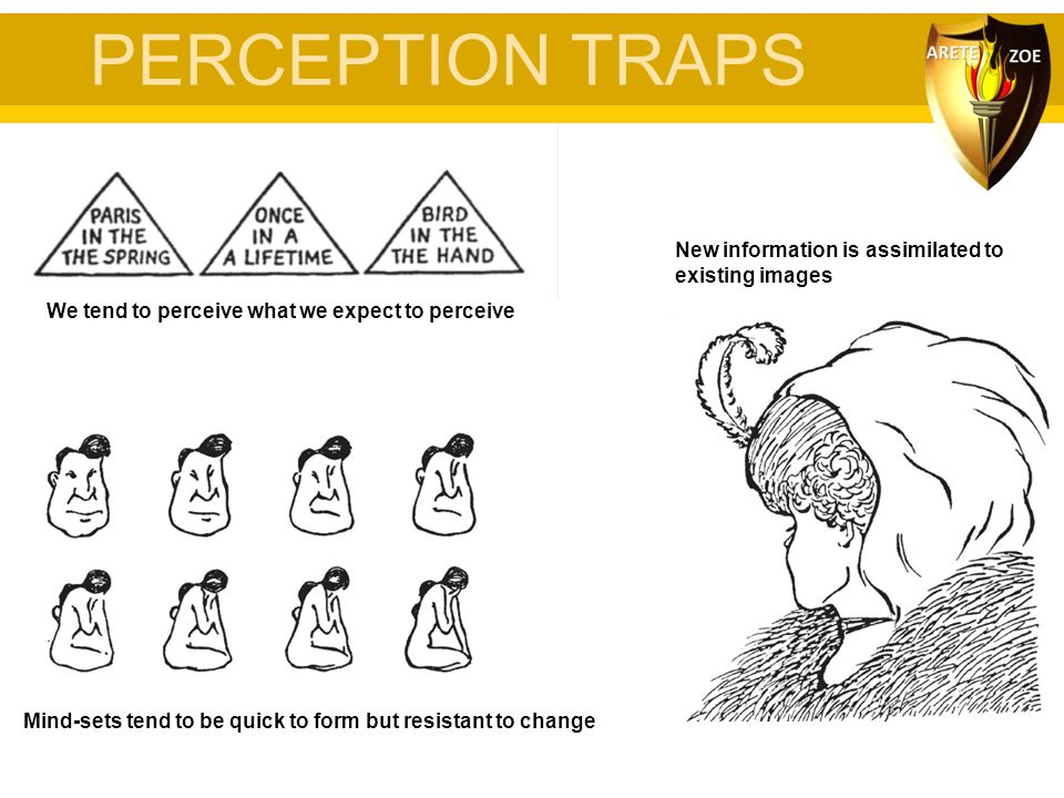 PERCEPTION TRAPS We tend to perceive what we expect to perceive Mind-sets tend to be quick to form but resistant to change New information is assimila