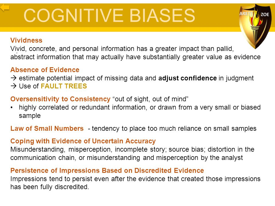 COGNITIVE BIASES Vividness Vivid, concrete, and personal information has a greater impact than pallid, abstract information that may actually have sub