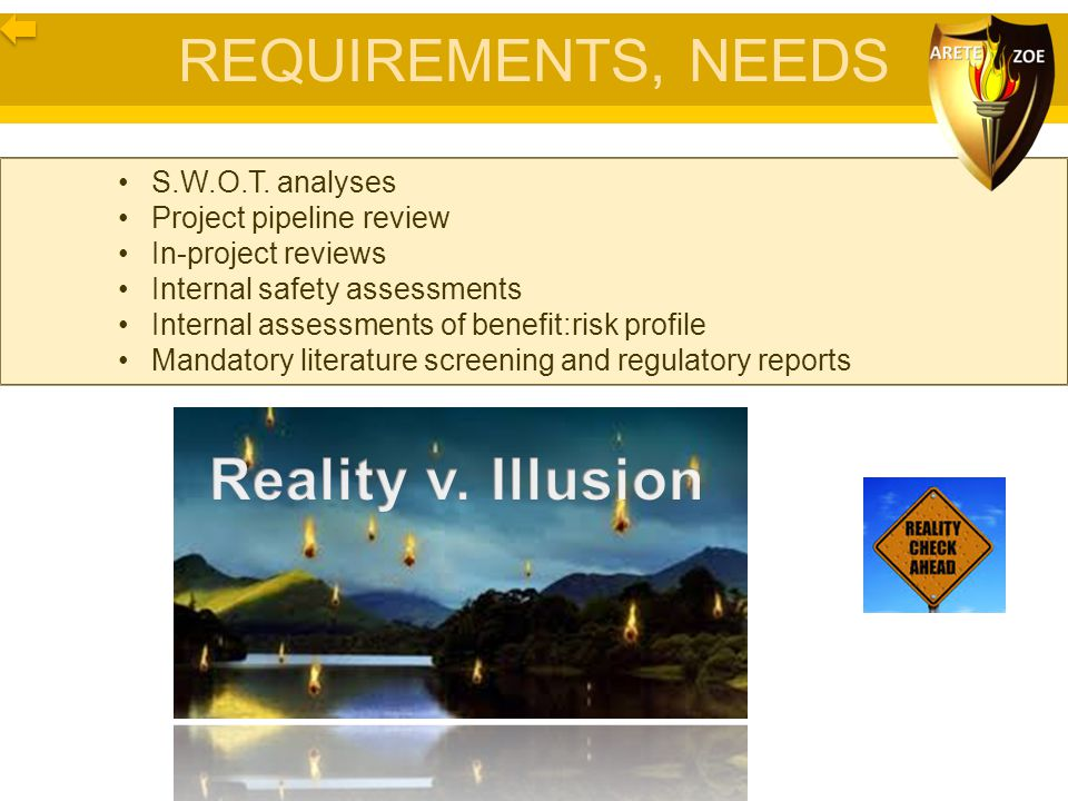 REQUIREMENTS, NEEDS S.W.O.T. analyses Project pipeline review In-project reviews Internal safety assessments Internal assessments of benefit:risk prof
