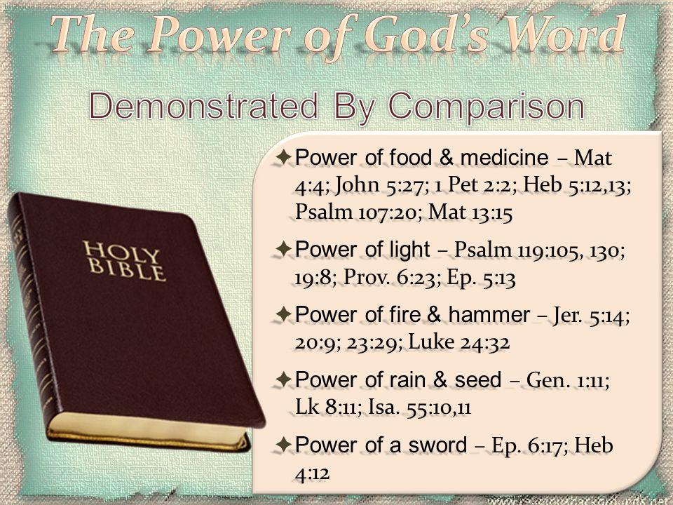  Power of food & medicine – Mat 4:4; John 5:27; 1 Pet 2:2; Heb 5:12,13; Psalm 107:20; Mat 13:15  Power of light – Psalm 119:105, 130; 19:8; Prov. 6: