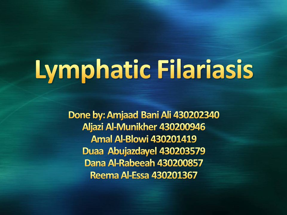 Lymphatic filariasis infection involves asymptomatic, acute, and chronic conditions.