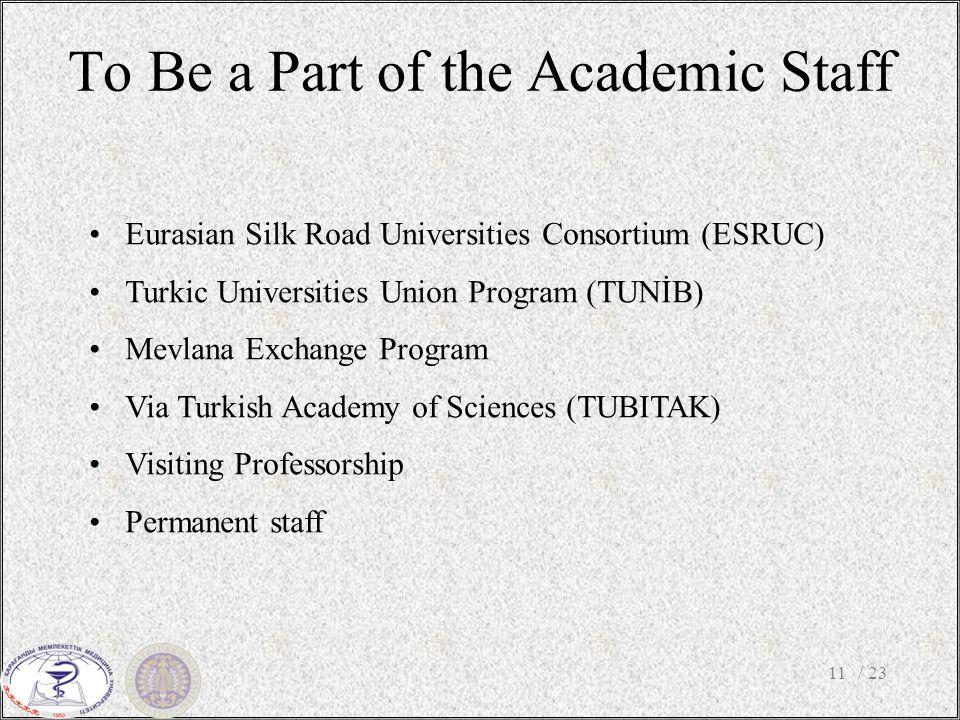 To Be a Part of the Academic Staff / 2311 Eurasian Silk Road Universities Consortium (ESRUC) Turkic Universities Union Program (TUNİB) Mevlana Exchange Program Via Turkish Academy of Sciences (TUBITAK) Visiting Professorship Permanent staff