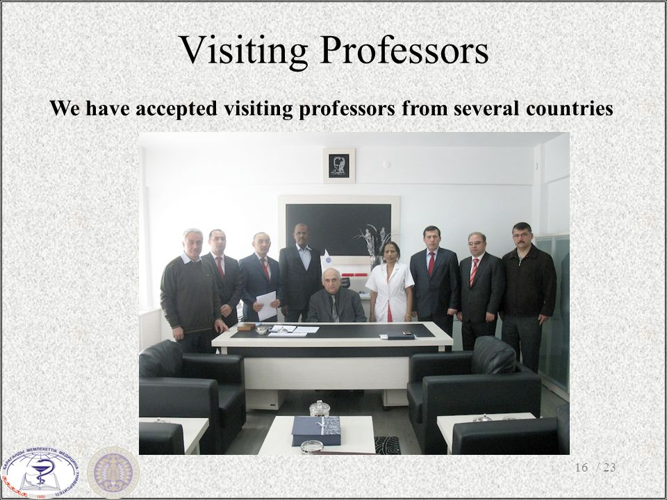 Visiting Professors / 2316 We have accepted visiting professors from several countries