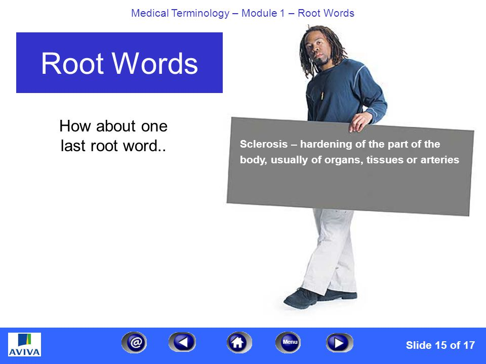 Menu Medical Terminology – Module 1 – Root Words How about one last root word..