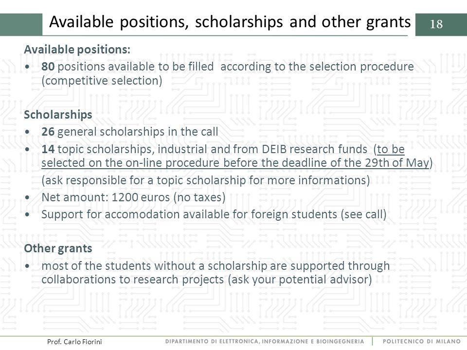 Prof. Carlo Fiorini 18 Available positions, scholarships and other grants Available positions: 80 positions available to be filled according to the se