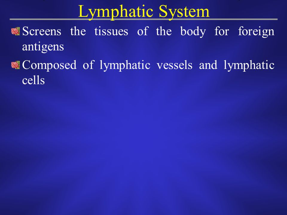 Screens the tissues of the body for foreign antigens Composed of lymphatic vessels and lymphatic cells Lymphatic System