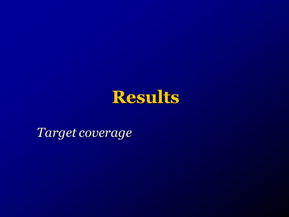 Results Target coverage
