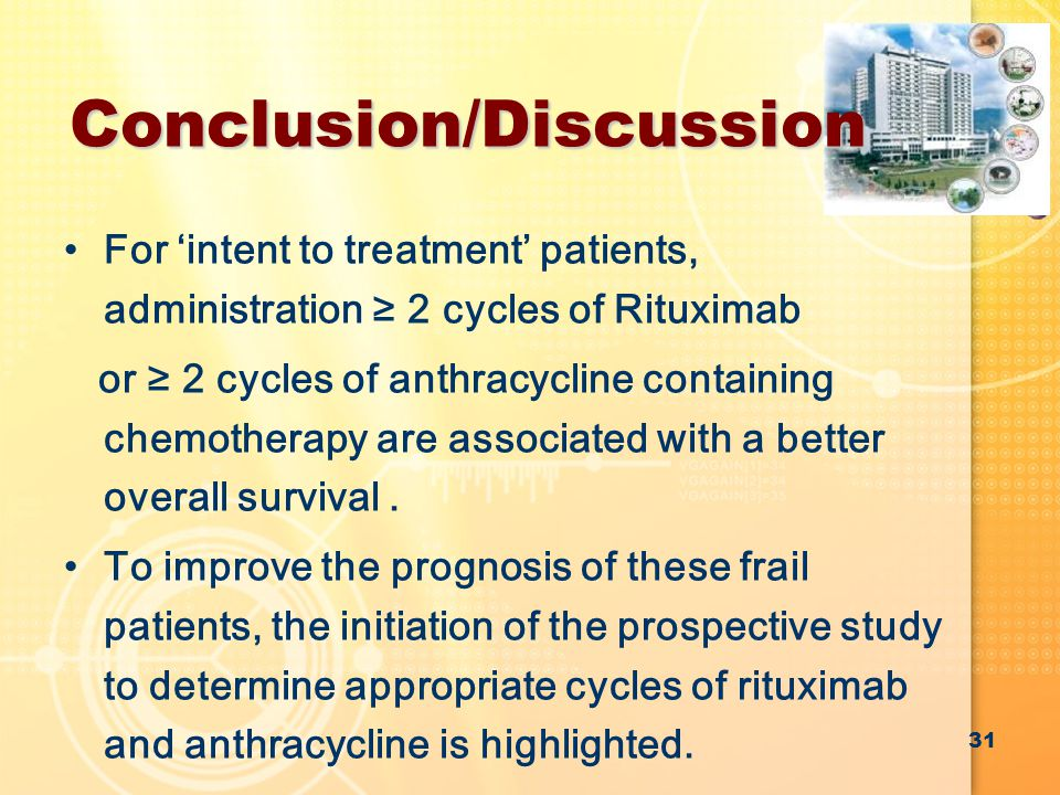 Conclusion/Discussion For 'intent to treatment' patients, administration ≥ 2 cycles of Rituximab or ≥ 2 cycles of anthracycline containing chemotherapy are associated with a better overall survival.