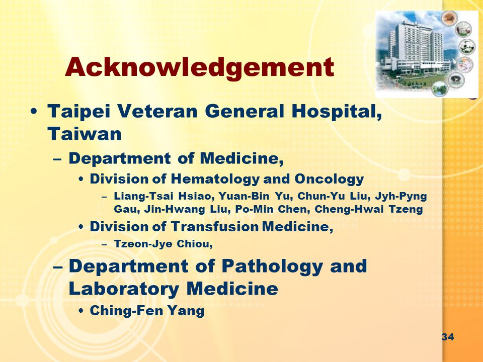 Acknowledgement Taipei Veteran General Hospital, Taiwan –Department of Medicine, Division of Hematology and Oncology –Liang-Tsai Hsiao, Yuan-Bin Yu, C