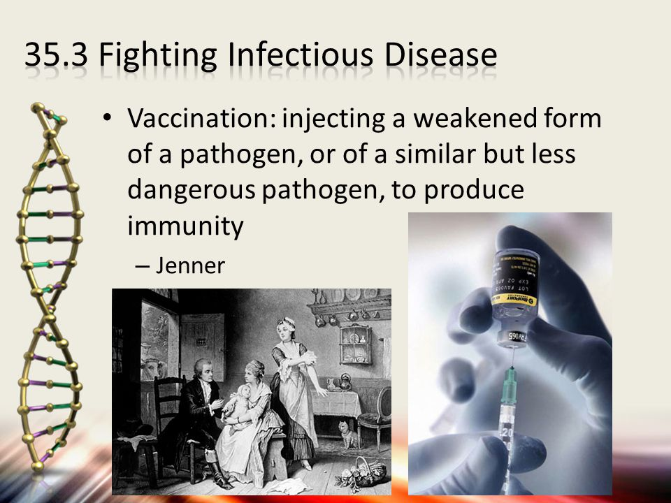 Vaccination: injecting a weakened form of a pathogen, or of a similar but less dangerous pathogen, to produce immunity – Jenner