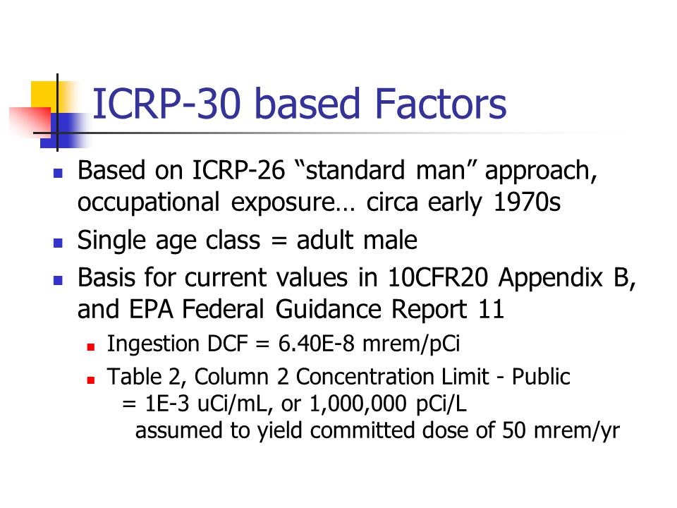 ICRP-30 based Factors Based on ICRP-26 standard man approach, occupational exposure… circa early 1970s Single age class = adult male Basis for current values in 10CFR20 Appendix B, and EPA Federal Guidance Report 11 Ingestion DCF = 6.40E-8 mrem/pCi Table 2, Column 2 Concentration Limit - Public = 1E-3 uCi/mL, or 1,000,000 pCi/L assumed to yield committed dose of 50 mrem/yr