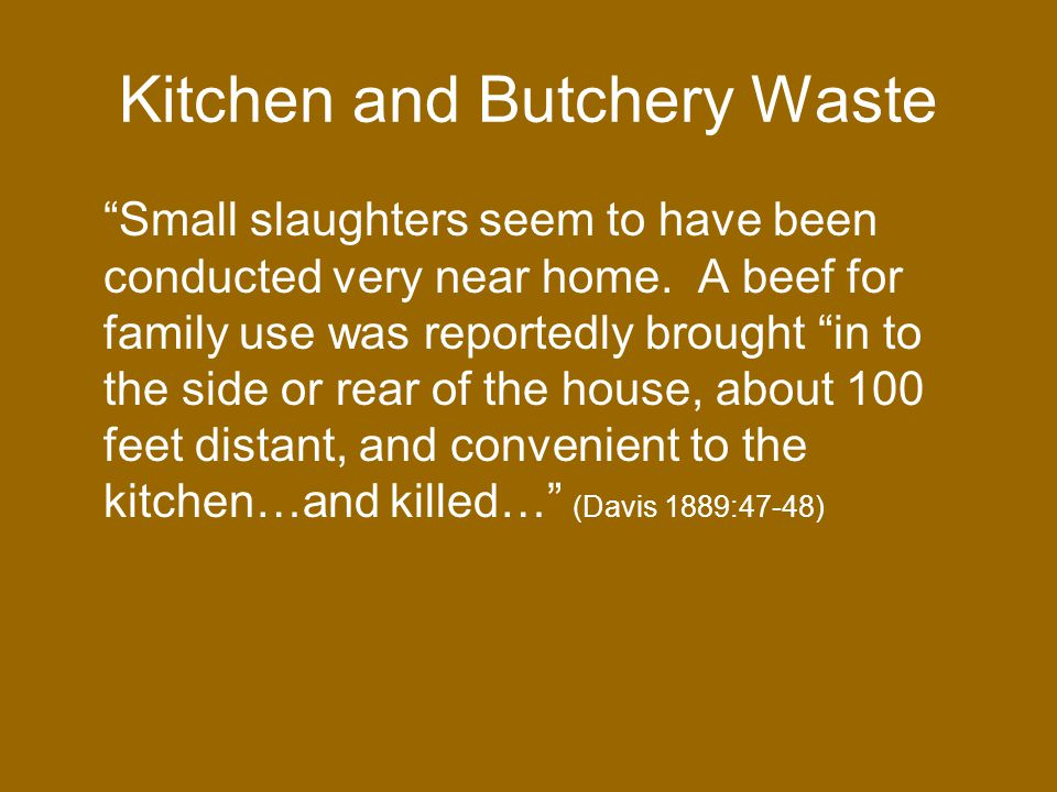Kitchen and Butchery Waste Small slaughters seem to have been conducted very near home.