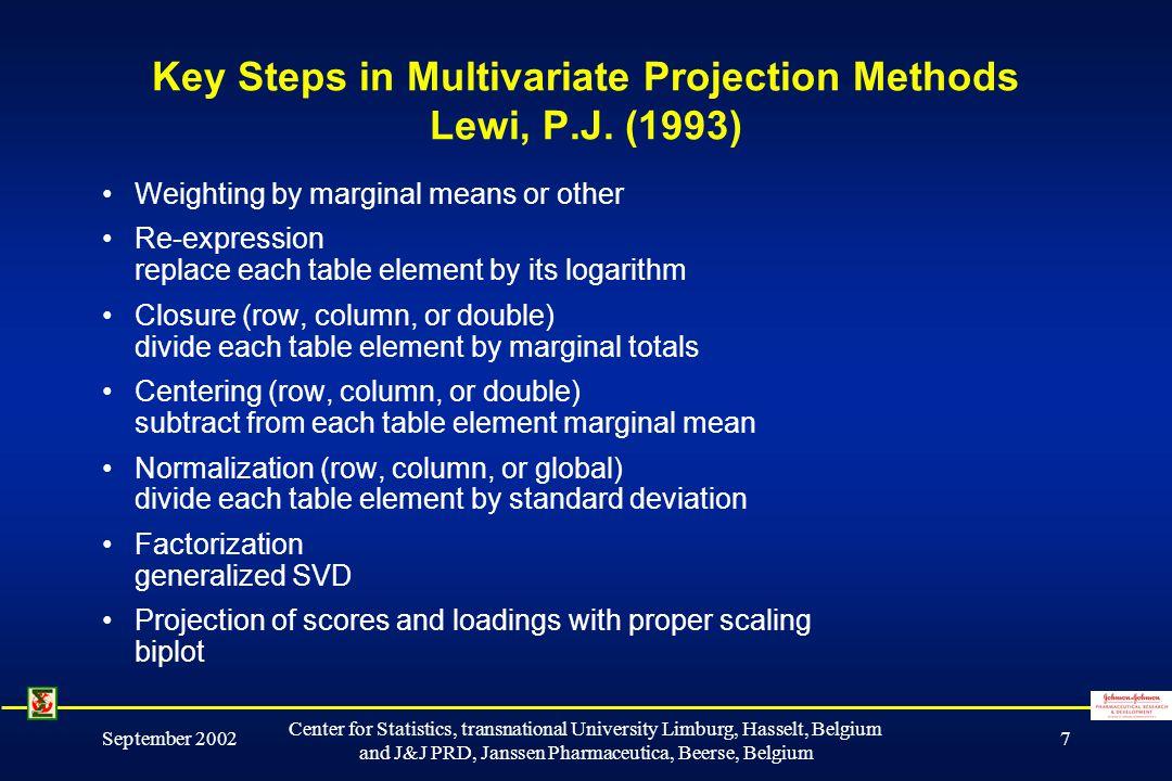 September 2002 Center for Statistics, transnational University Limburg, Hasselt, Belgium and J&J PRD, Janssen Pharmaceutica, Beerse, Belgium 7 Key Steps in Multivariate Projection Methods Lewi, P.J.