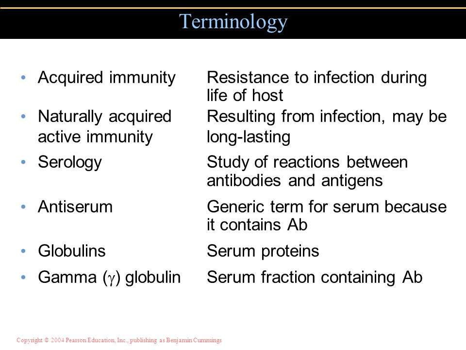 Copyright © 2004 Pearson Education, Inc., publishing as Benjamin Cummings Terminology Acquired immunityResistance to infection during life of host Nat