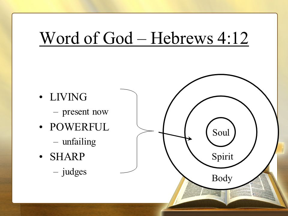 Word of God – Hebrews 4:12 Spirit Soul Spirit Body LIVING –present now POWERFUL –unfailing SHARP –judges