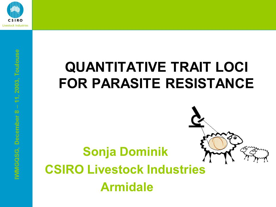 IWMGQSG, December 8 – 11, 2003, Toulouse QUANTITATIVE TRAIT LOCI FOR PARASITE RESISTANCE Sonja Dominik CSIRO Livestock Industries Armidale