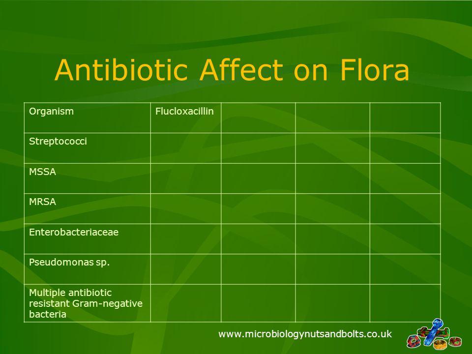www.microbiologynutsandbolts.co.uk Antibiotic Affect on Flora OrganismFlucloxacillin Streptococci MSSA MRSA Enterobacteriaceae Pseudomonas sp. Multipl