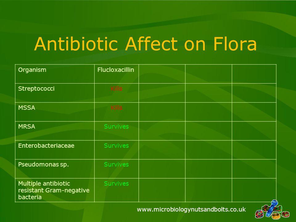 www.microbiologynutsandbolts.co.uk Antibiotic Affect on Flora OrganismFlucloxacillin StreptococciKills MSSAKills MRSASurvives EnterobacteriaceaeSurviv