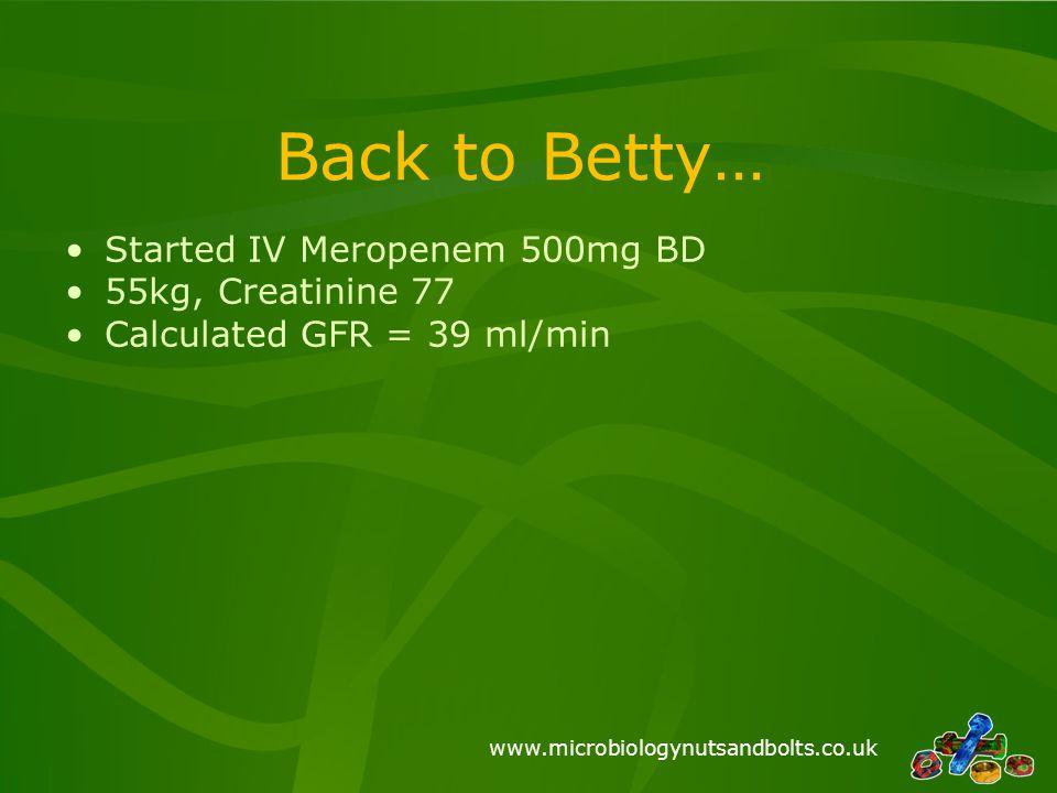 www.microbiologynutsandbolts.co.uk Back to Betty… Started IV Meropenem 500mg BD 55kg, Creatinine 77 Calculated GFR = 39 ml/min