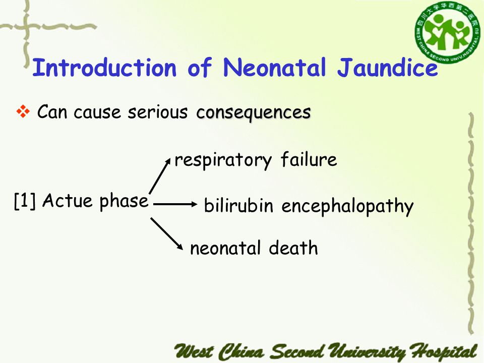 Introduction of Neonatal Jaundice consequences  Can cause serious consequences [1] Actue phase respiratory failure bilirubin encephalopathy neonatal death