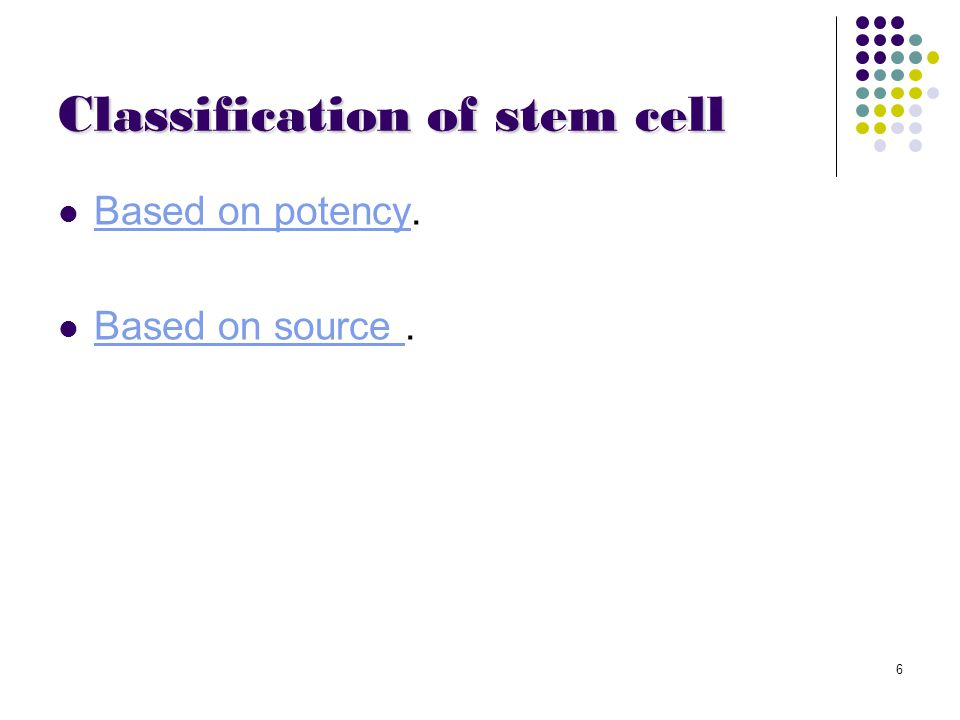 7 Types of stem Cells Stem Cell Embryonic stem (ES) Cell Embryonic germ (EG) Cell Adult stem Cell