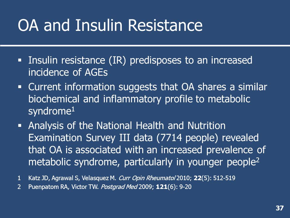 OA and Insulin Resistance  Insulin resistance (IR) predisposes to an increased incidence of AGEs  Current information suggests that OA shares a similar biochemical and inflammatory profile to metabolic syndrome 1  Analysis of the National Health and Nutrition Examination Survey III data (7714 people) revealed that OA is associated with an increased prevalence of metabolic syndrome, particularly in younger people 2 1Katz JD, Agrawal S, Velasquez M.