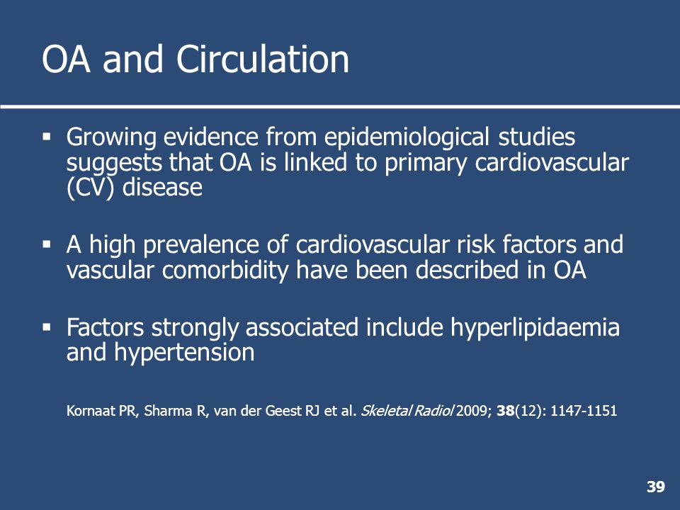 OA and Circulation  Growing evidence from epidemiological studies suggests that OA is linked to primary cardiovascular (CV) disease  A high prevalence of cardiovascular risk factors and vascular comorbidity have been described in OA  Factors strongly associated include hyperlipidaemia and hypertension Kornaat PR, Sharma R, van der Geest RJ et al.