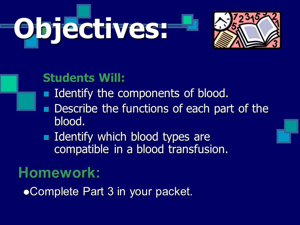Objectives: Students Will: Identify the components of blood. Identify the components of blood. Describe the functions of each part of the blood. Descr
