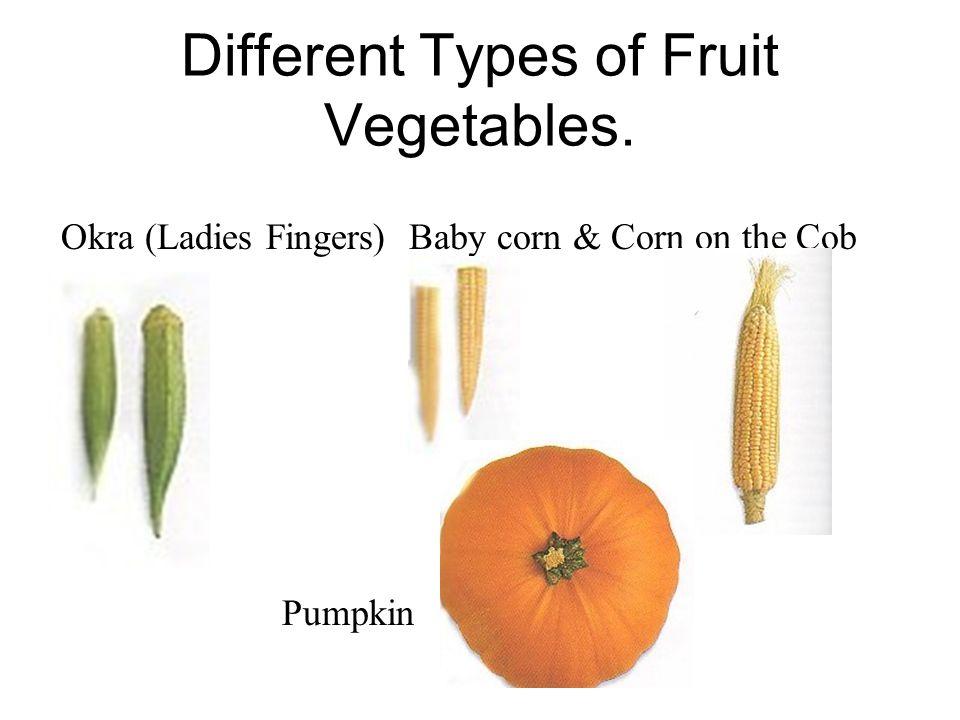 Different Types of Fruit Vegetables. Okra (Ladies Fingers) Baby corn & Corn on the Cob Pumpkin