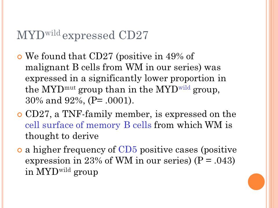 MYD wild expressed CD27 We found that CD27 (positive in 49% of malignant B cells from WM in our series) was expressed in a significantly lower proportion in the MYD mut group than in the MYD wild group, 30% and 92%, (P=.0001).