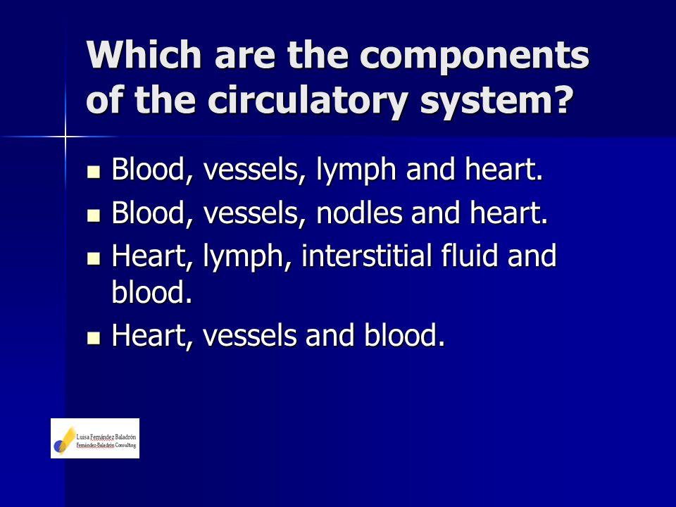 Which are the components of the circulatory system? Blood, vessels, lymph and heart. Blood, vessels, lymph and heart. Blood, vessels, nodles and heart