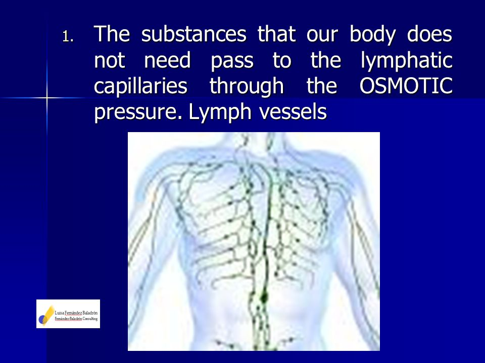 1. The substances that our body does not need pass to the lymphatic capillaries through the OSMOTIC pressure. Lymph vessels