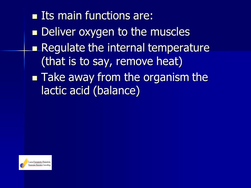 Its main functions are: Its main functions are: Deliver oxygen to the muscles Deliver oxygen to the muscles Regulate the internal temperature (that is
