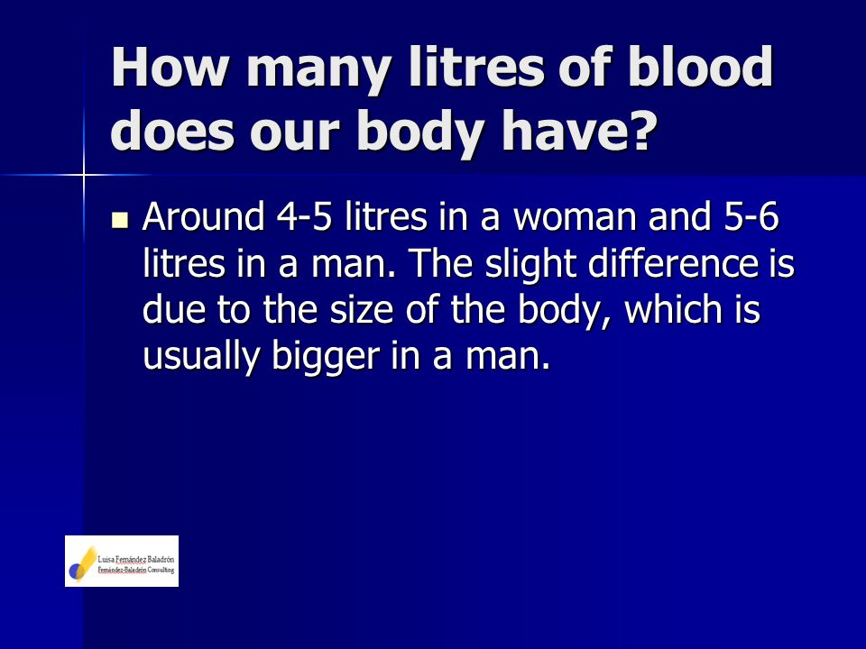 Around 4-5 litres in a woman and 5-6 litres in a man. The slight difference is due to the size of the body, which is usually bigger in a man. Around 4