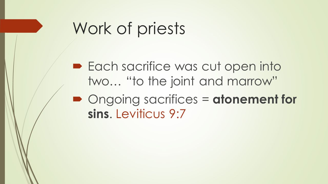Work of priests  Each sacrifice was cut open into two… to the joint and marrow  Ongoing sacrifices = atonement for sins.