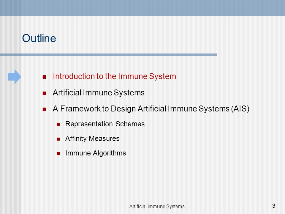 Introduction to the Immune System Artificial Immune Systems A Framework to Design Artificial Immune Systems (AIS) Representation Schemes Affinity Measures Immune Algorithms Outline 3 Artificial Immune Systems