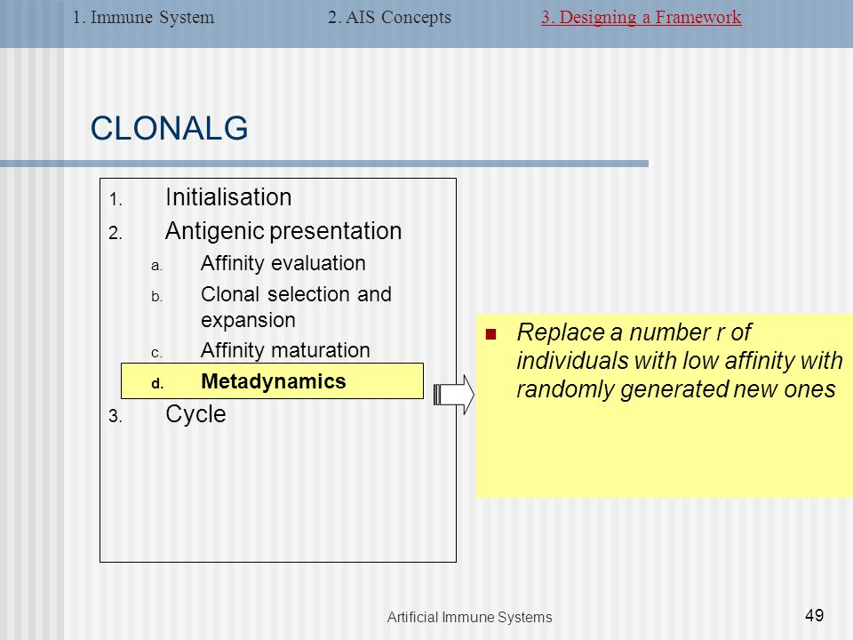 CLONALG 1. Initialisation 2. Antigenic presentation a. Affinity evaluation b. Clonal selection and expansion c. Affinity maturation d. Metadynamics 3.
