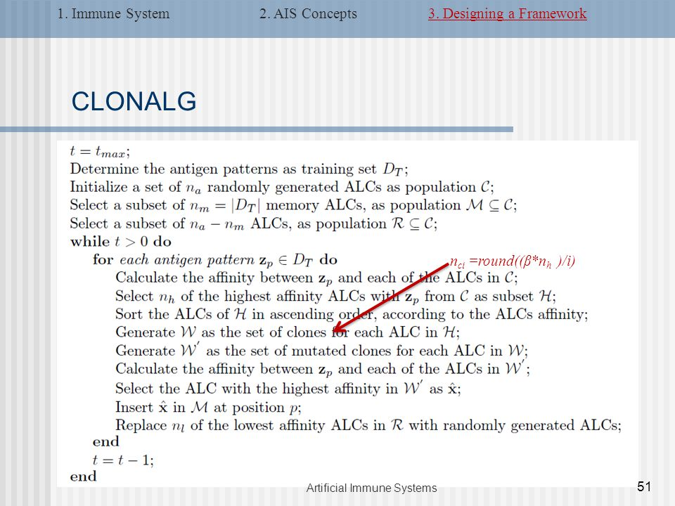 CLONALG n ci =round((β*n h )/i) 51 Artificial Immune Systems 1.